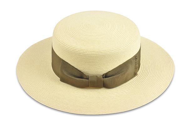 平頂紙編遮陽帽-米白色 1