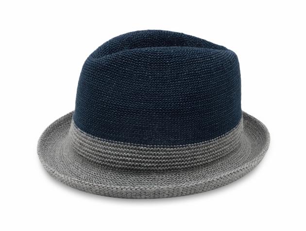 雙色簡約爵士帽-深藍灰 1