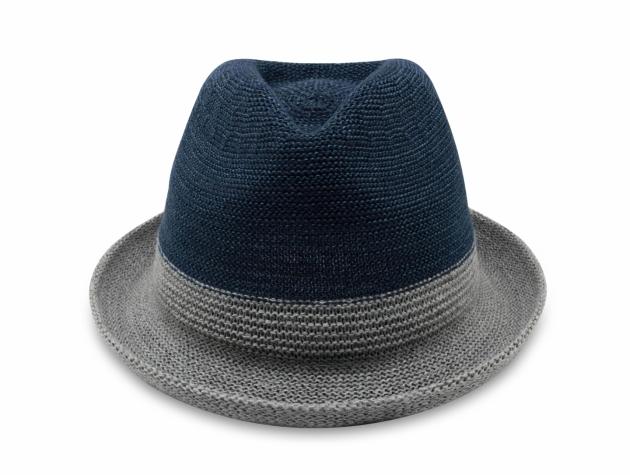 雙色簡約爵士帽-深藍灰 2