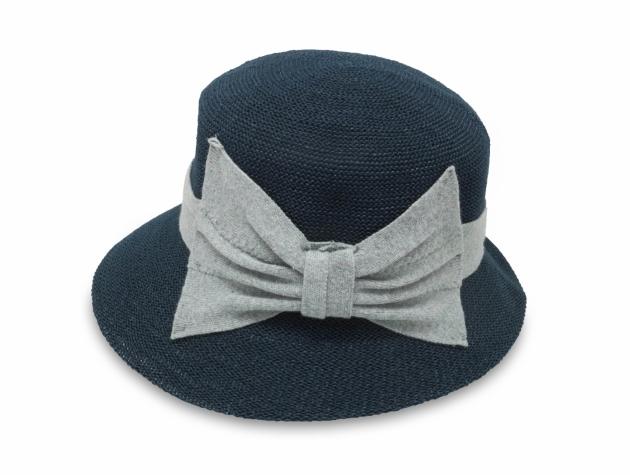 英倫蝴蝶結淑女帽-深藍</br>(左側裝飾) 2
